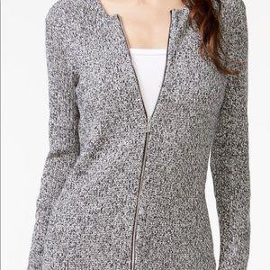 NEW Calvin Klein Zipper Front V Neck Cardigan